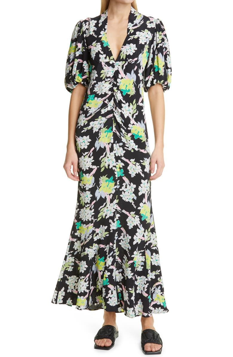 BYTIMO Floral Puff Sleeve Crepe Maxi Dress, Main, color, PRIMEROSE