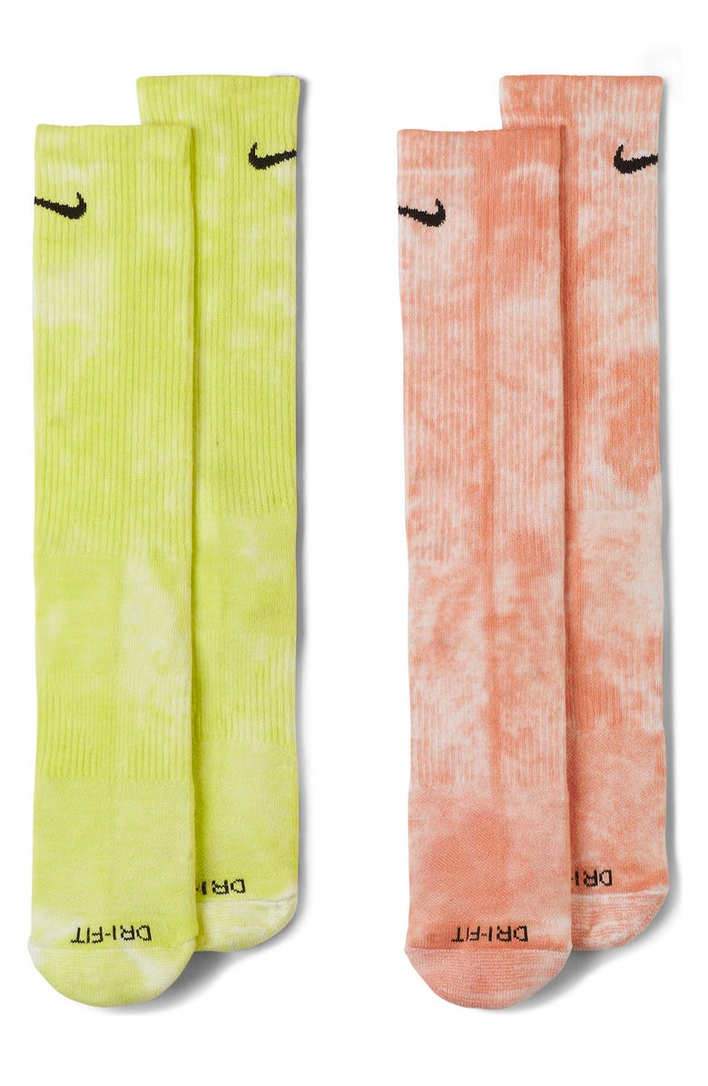 NIKE Dri-FIT 2-Pack Assorted Everyday Plus Athletic Socks, Main, color, MULTI-COLOR