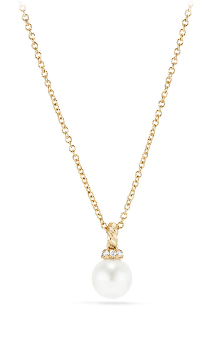 DAVID YURMAN Solari Pendant Necklace with Pearl & Diamonds in 18K Gold, Main, color, 710