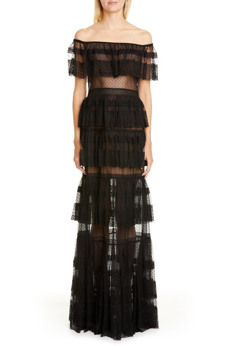 ZUHAIR MURAD Off the Shoulder Tiered Gown, Main, color, 001