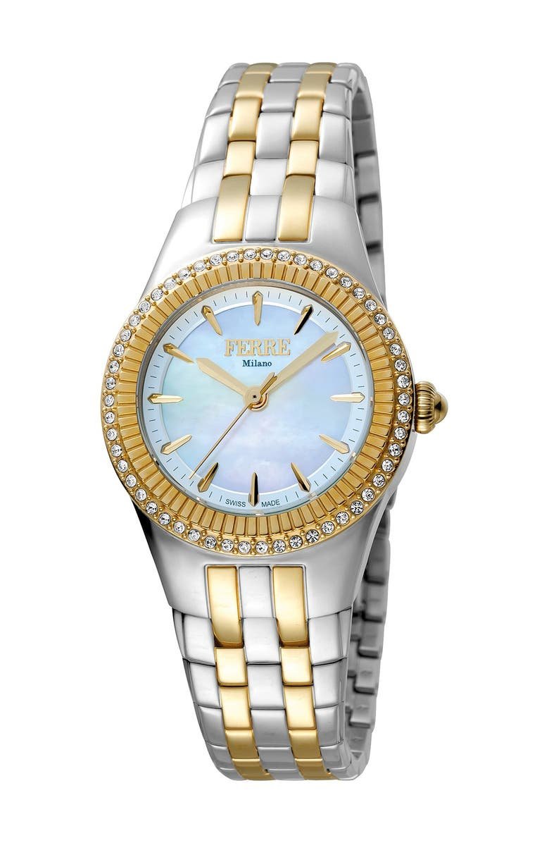 FERRE MILANO Women's Stainless Steel Watch, 30mm, Main, color, TWO TONED SS/IPYG