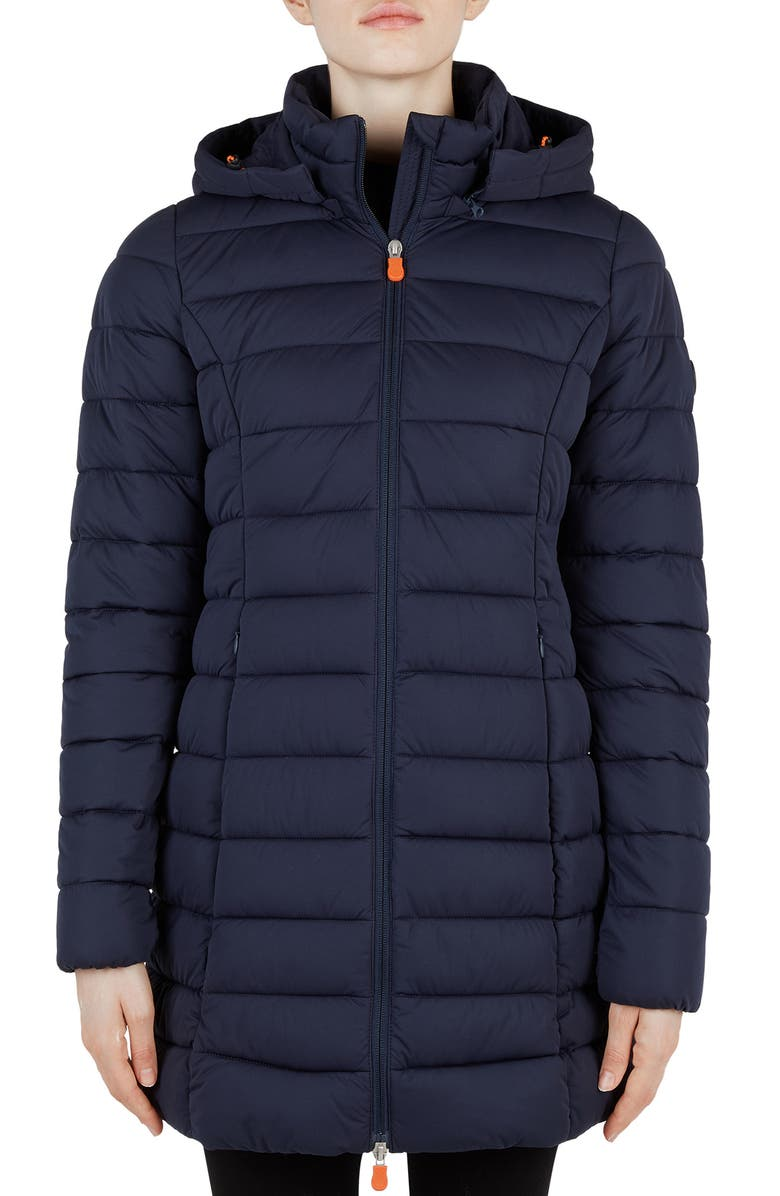 SAVE THE DUCK Seal Stretch Water Resistant Quilted Coat, Main, color, BLUE BLACK
