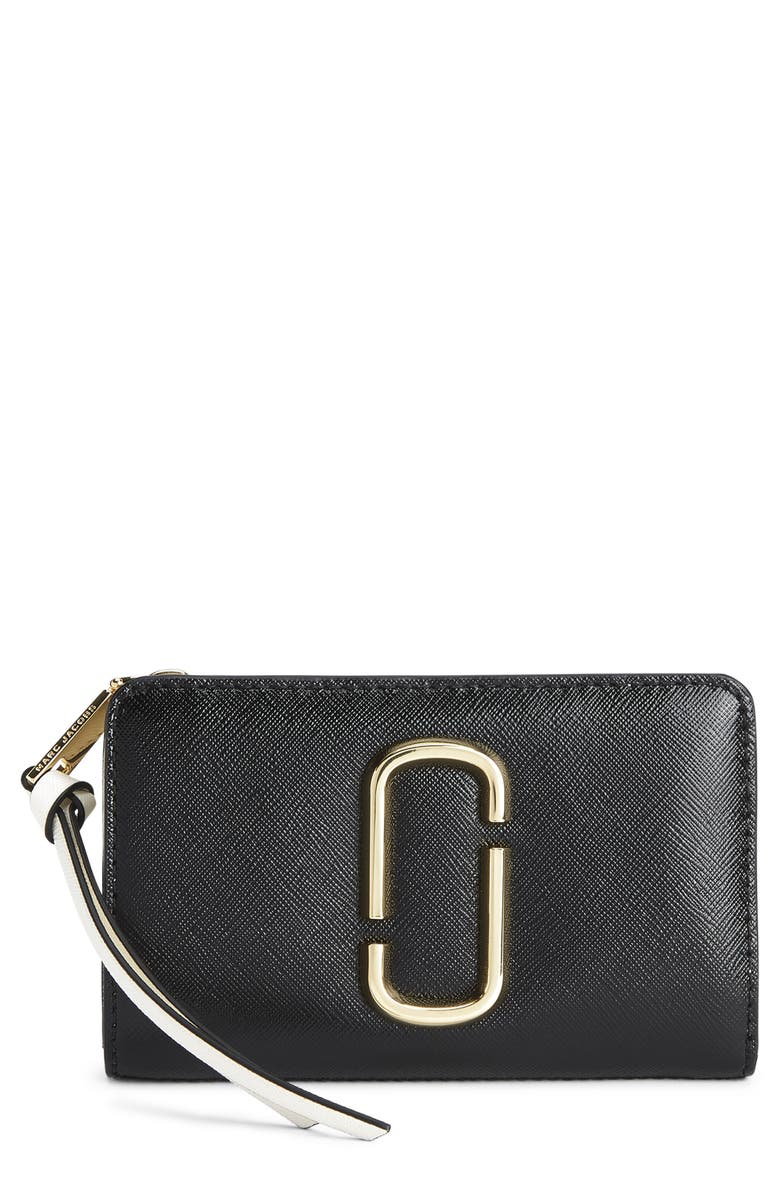 THE MARC JACOBS Snapshot Leather Compact Wallet, Main, color, 001