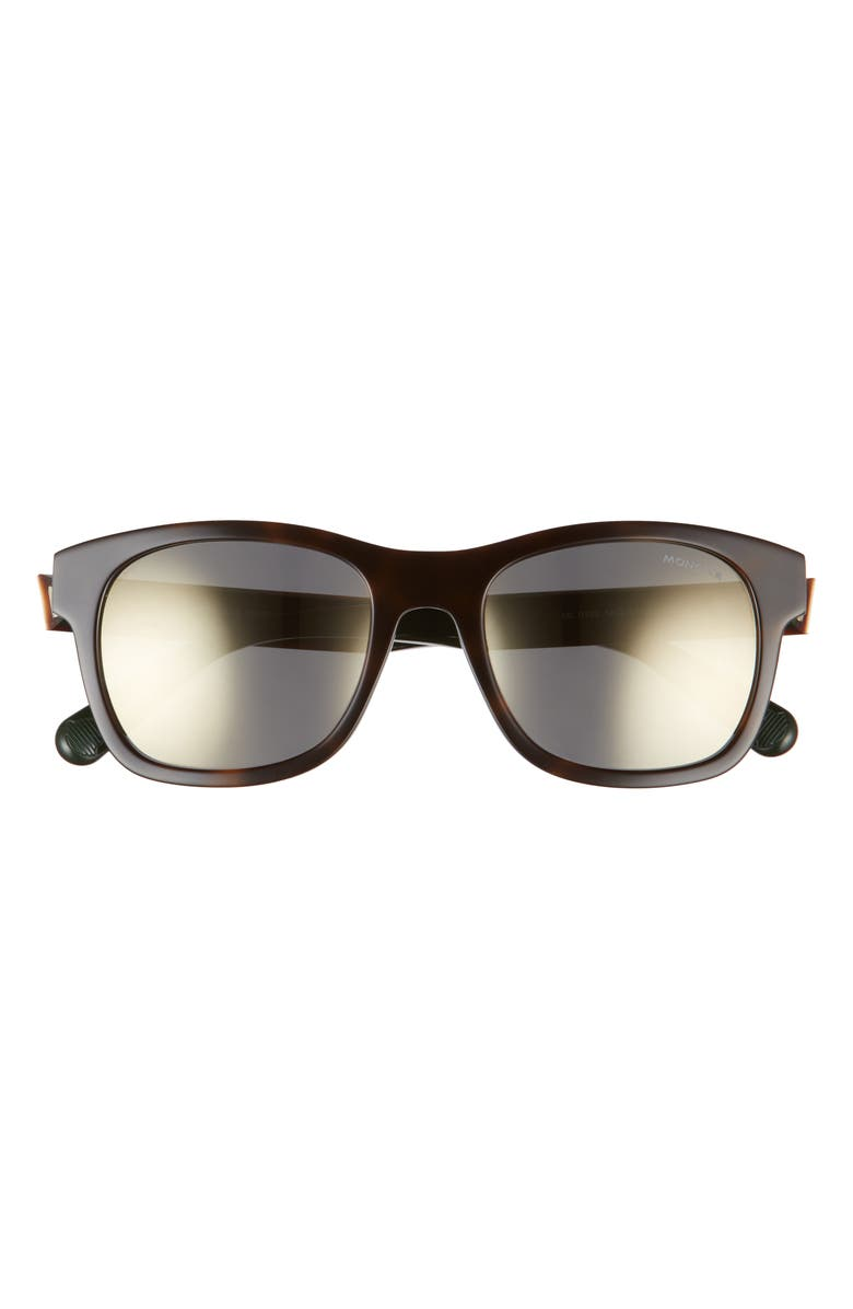 MONCLER 53mm Square Sunglasses, Main, color, HAVANA/ OTHER / GREEN MIRROR