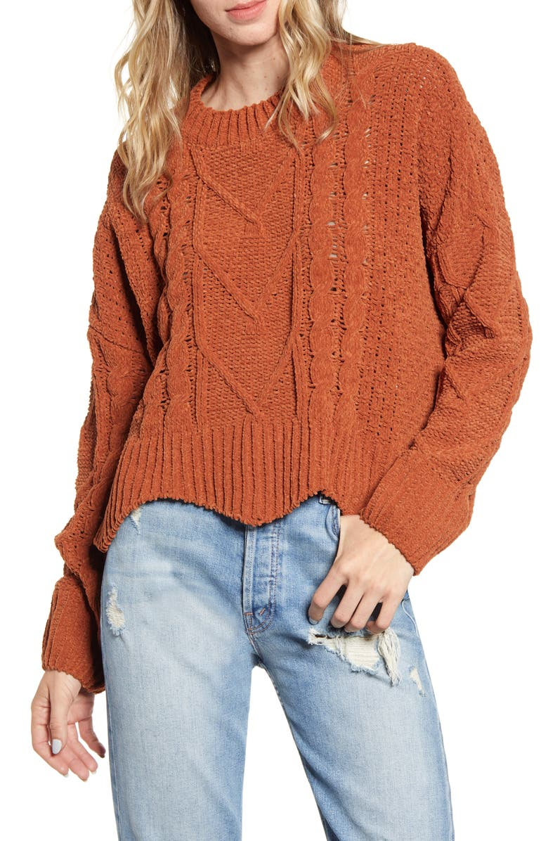 BLANKNYC Cable Knit Crewneck Sweater, Main, color, 200