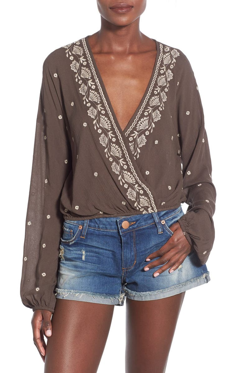 CHLOE & KATIE Embroidered Surplice Blouse, Main, color, 300