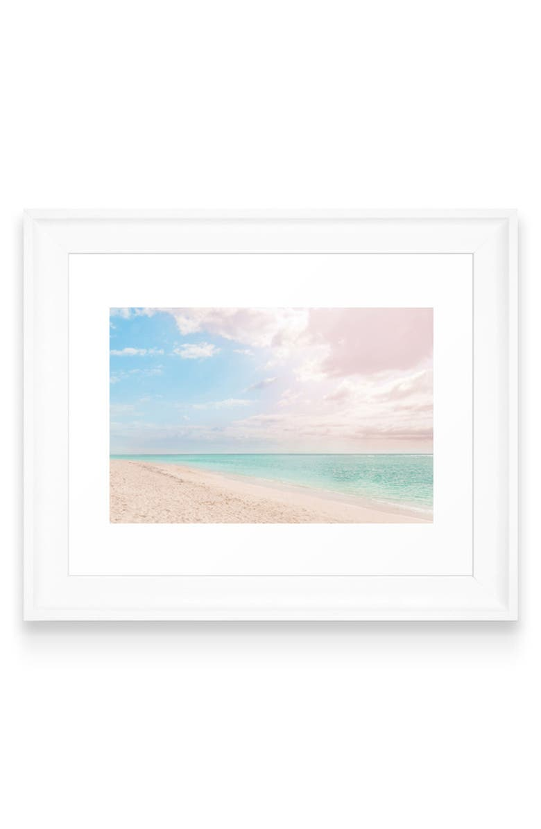 DENY DESIGNS Romantic Beach Art Print, Main, color, WHITE FRAME- 8X10