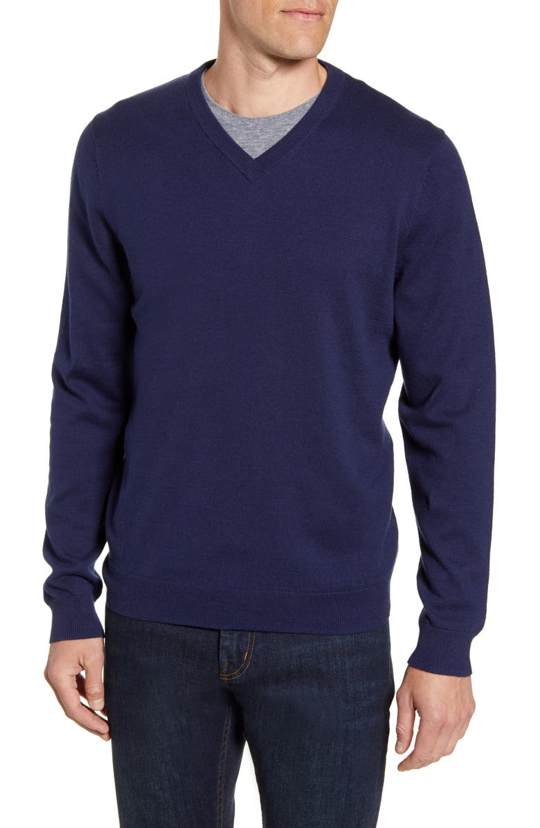 NORDSTROM MEN'S SHOP Cotton & Cashmere V-Neck Sweater, Main, color, NAVY IRIS