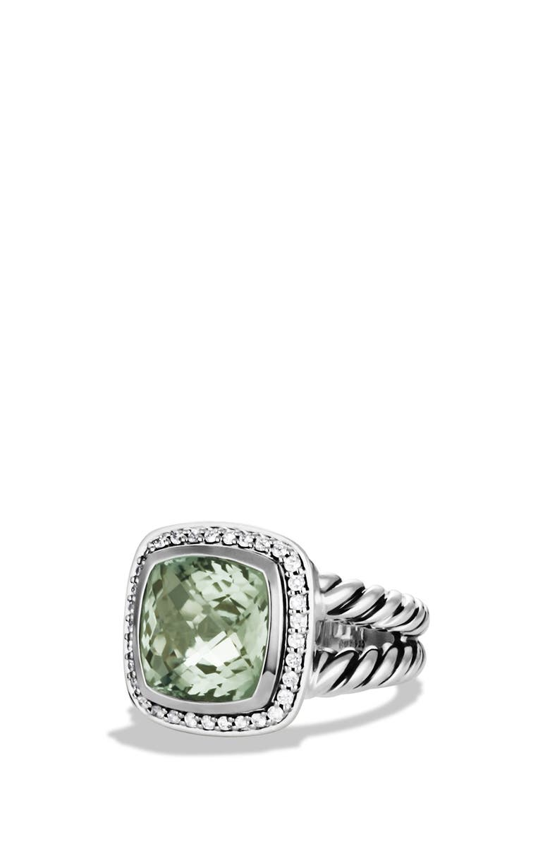 DAVID YURMAN Albion Ring with Semiprecious Stone & Diamonds, Main, color, PRASIOLITE