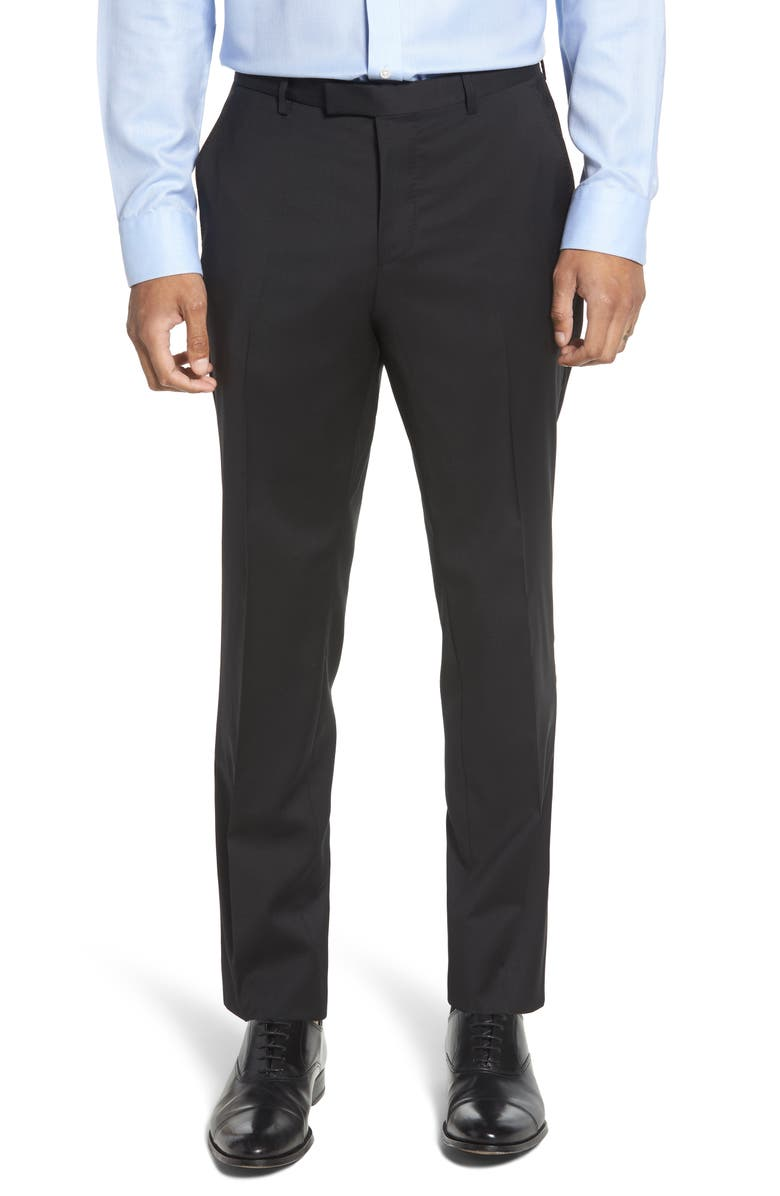 BOSS Leenon Flat Front Straight Leg Solid Wool Dress Pants, Main, color, 001