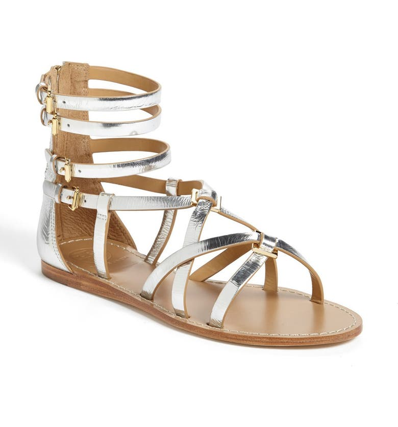 TORY BURCH 'Lucas' Flat Gladiator Sandal, Main, color, 040