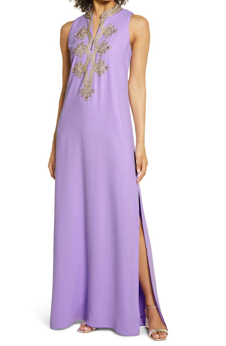 LILLY PULITZER<SUP>®</SUP> Brocade Detail Maxi Dress, Main, color, PURPLE IRIS