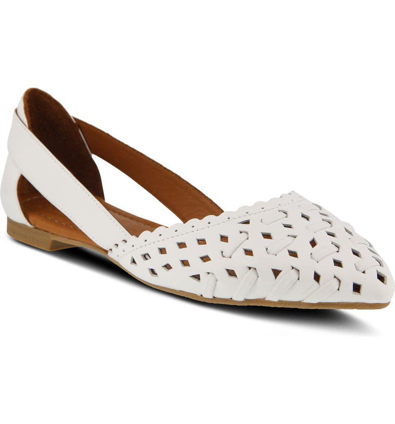 SPRING STEP Delorse Flat, Main, color, WHITE LEATHER