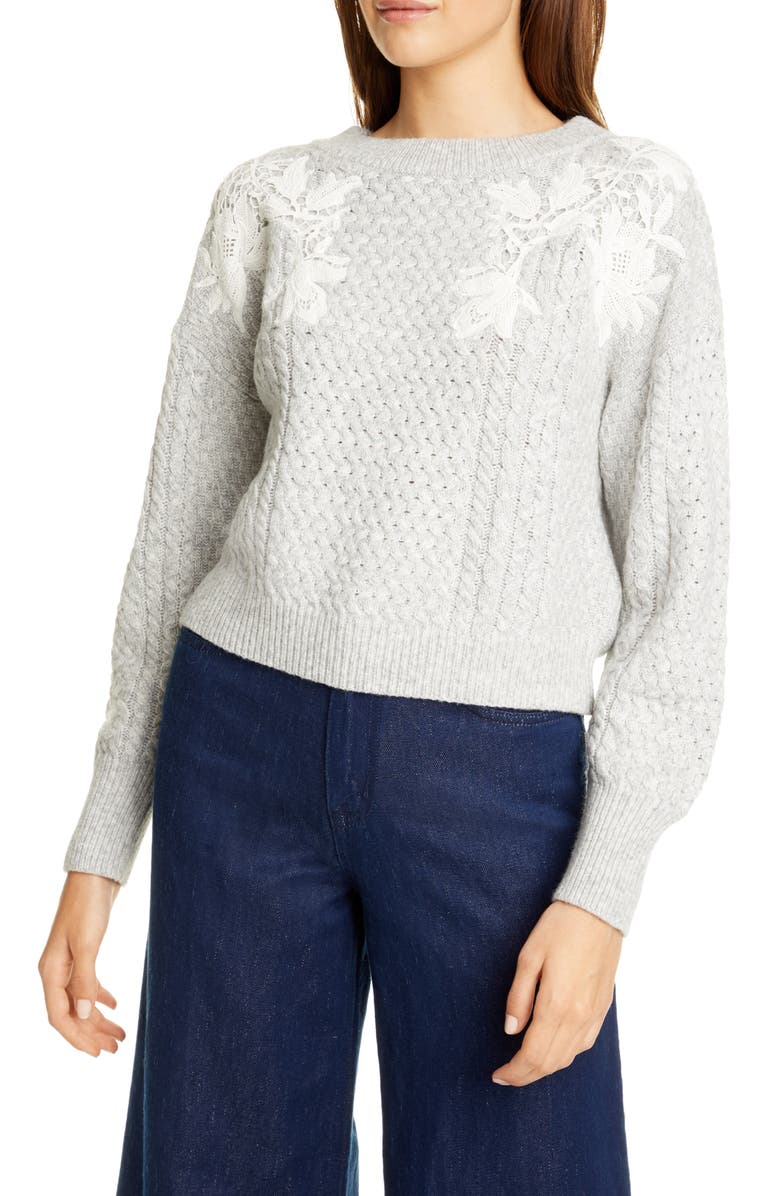 REBECCA TAYLOR Lace Appliqué Crewneck Sweater, Main, color, 020