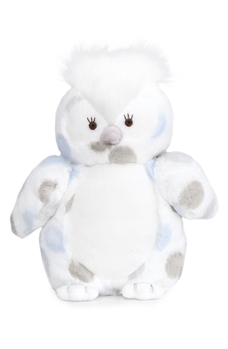 LITTLE GIRAFFE Luxe Plush Little Owl Stuffed Animal, Main, color, BLUE