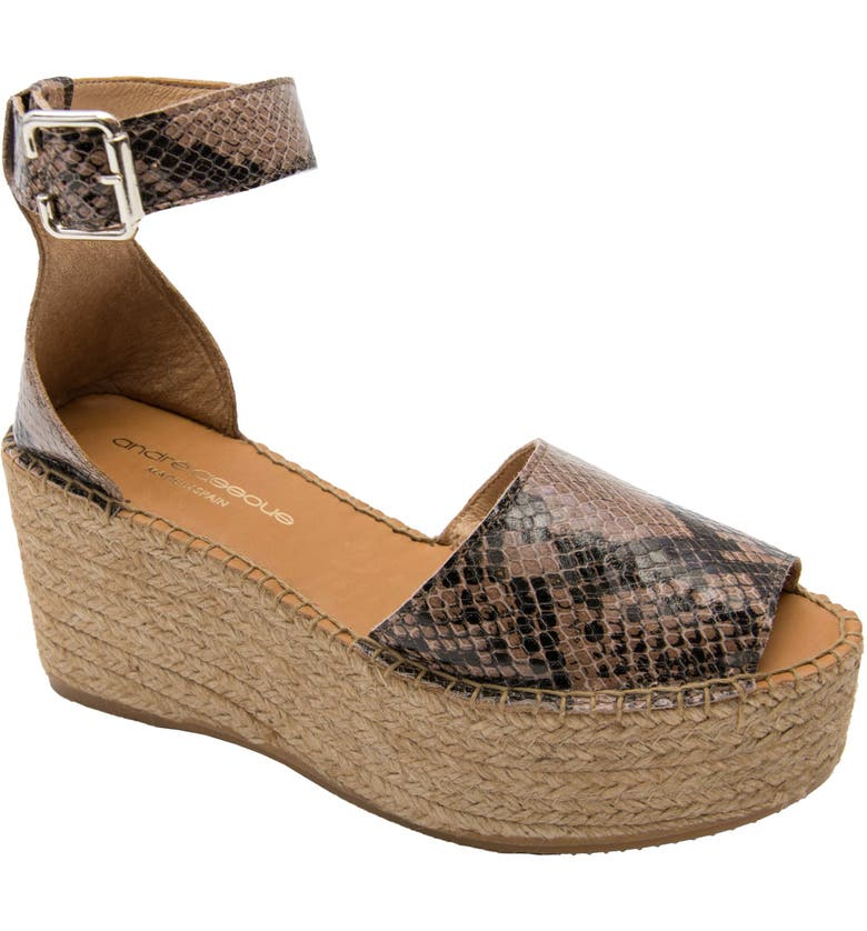ANDRÉ ASSOUS Luz Platform Wedge Espadrille Sandal, Main, color, SAND SNAKE PRINT LEATHER