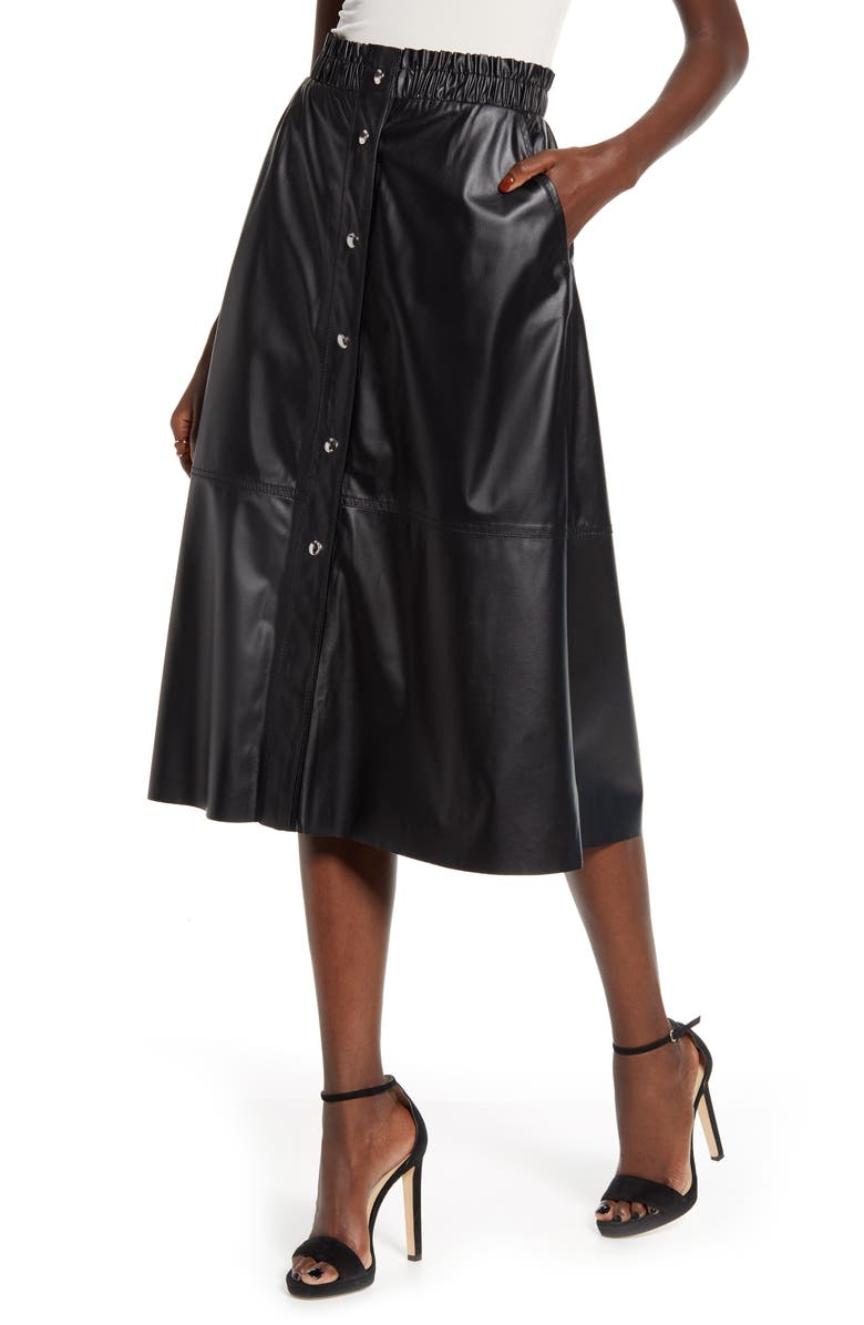 BLANKNYC Snap Front Faux Leather Midi Skirt, Main, color, 001