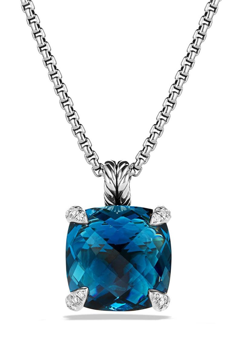 DAVID YURMAN Châtelaine Pendant Necklace with Semiprecious Stone and Diamonds, Main, color, SILVER/ HAMPTON BLUE TOPAZ