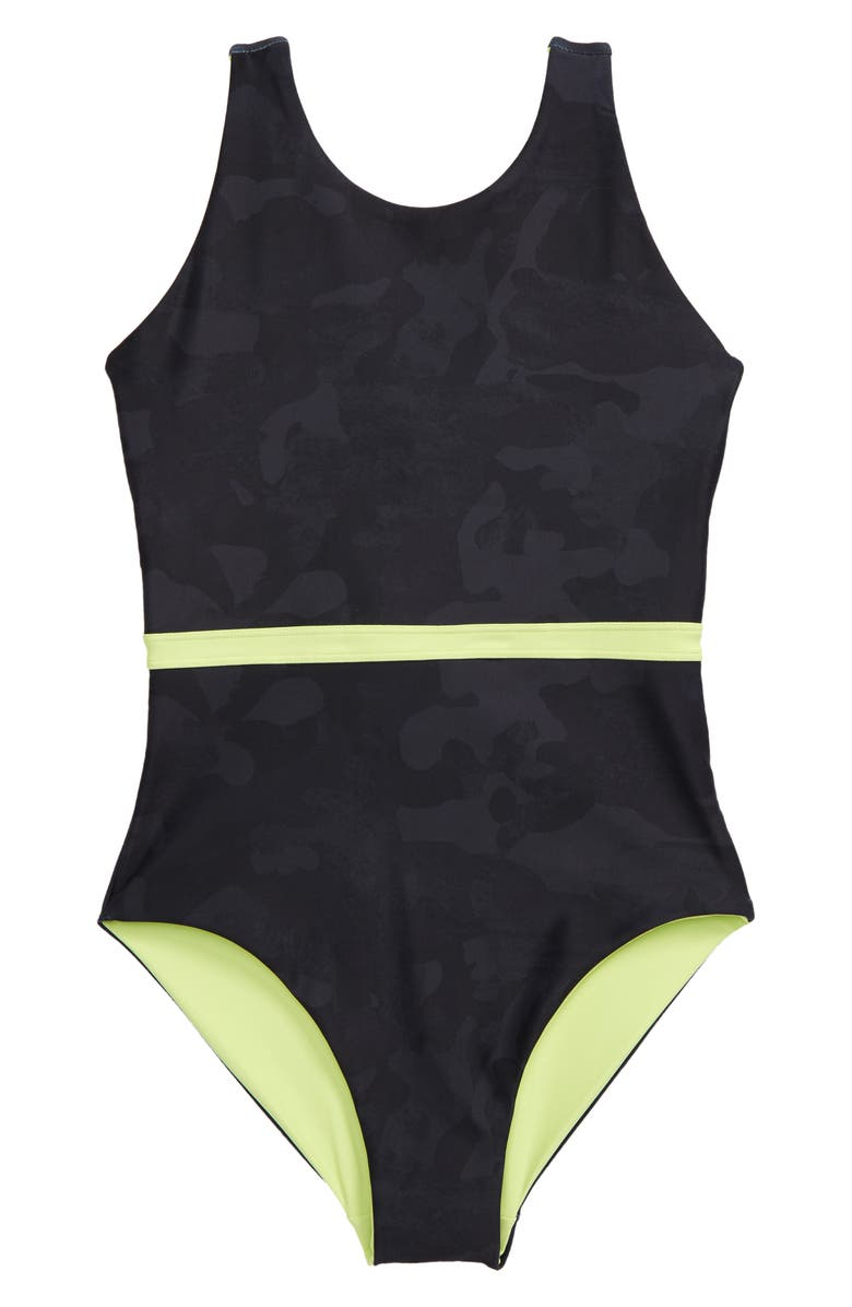 ZELLA GIRL Reversible Journey One-Piece Swimsuit, Main, color, GREY DEPTHS SAY MY NAME CAMO