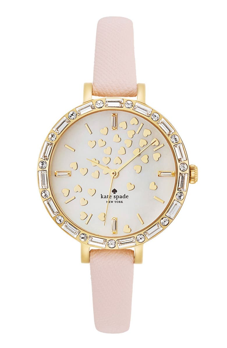 KATE SPADE NEW YORK 'metro' crystal bezel heart dial watch, 34mm, Main, color, 650