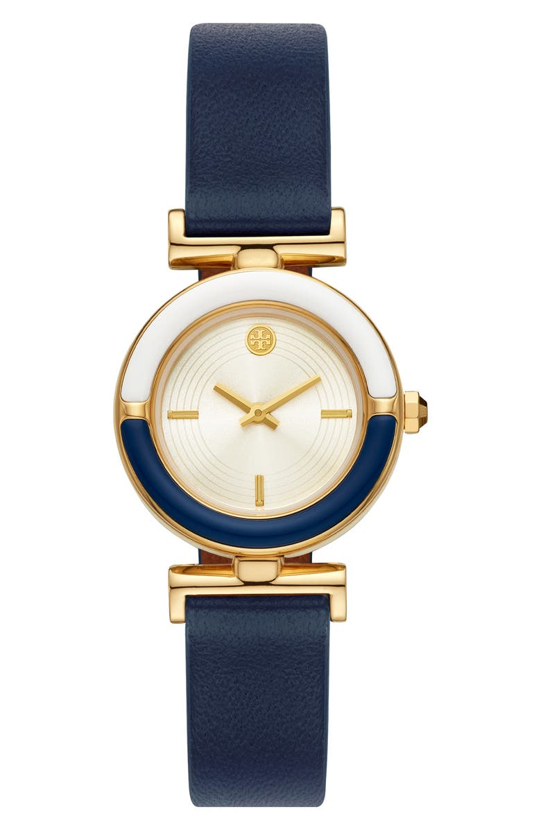 TORY BURCH The Sawyer Leather Strap Watch, 28mm, Main, color, MULTI