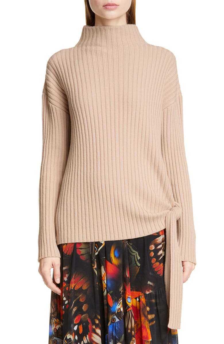 FUZZI Tie Hem Wool, Silk & Cashmere Sweater, Main, color, 100