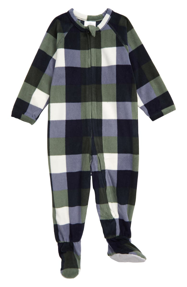 NORDSTROM Check Blanket One-Piece Footed Pajamas, Main, color, 410