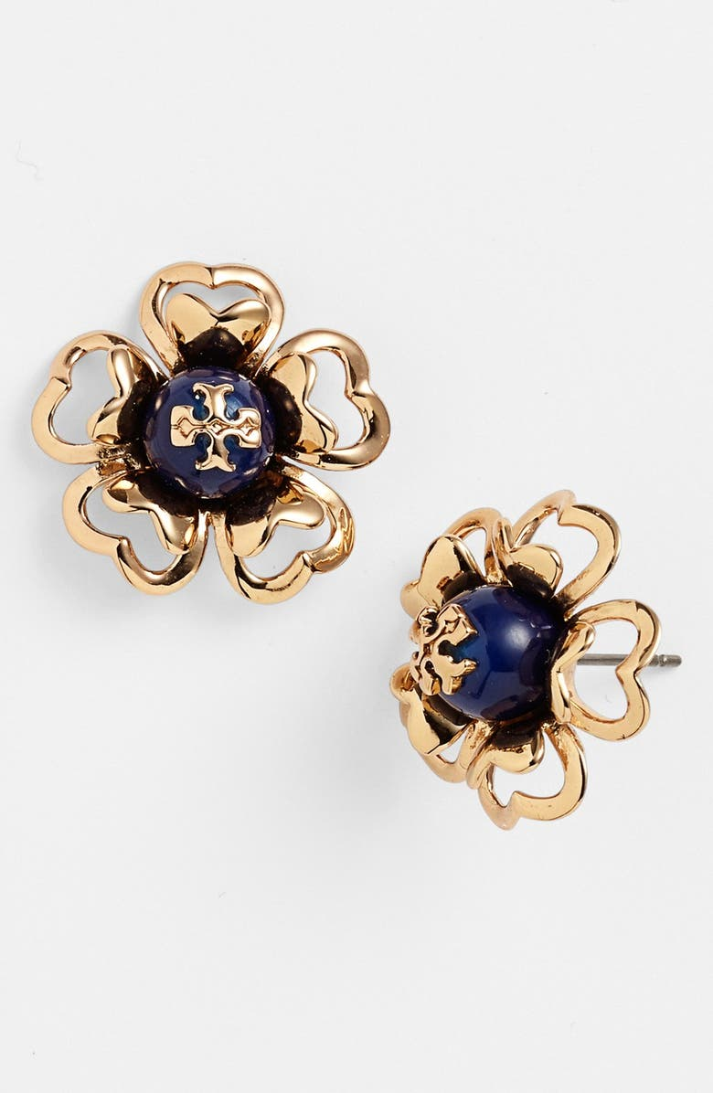TORY BURCH 'Katie' Floral Logo Stud Earrings, Main, color, INDIAN BLUE/ GOLD