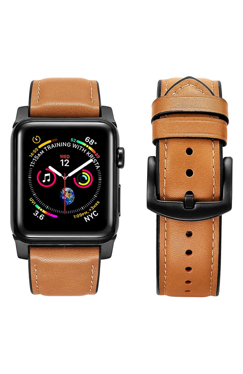 THE POSH TECH Leather Apple Watch<sup>®</sup> Strap, Main, color, BROWN-38/ 40MM