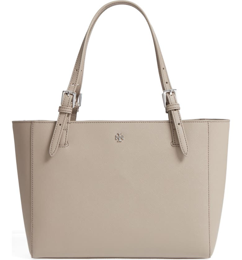 TORY BURCH 'Small York' Saffiano Leather Buckle Tote, Main, color, FRENCH GREY