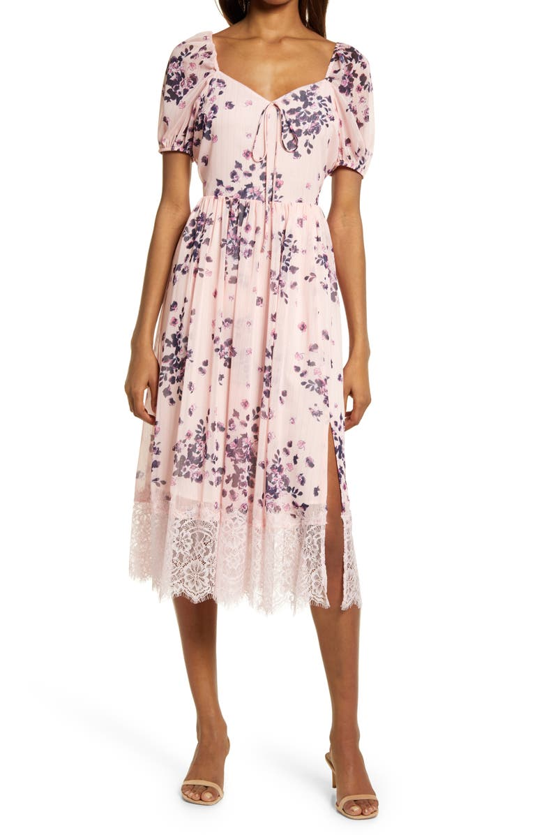 CHELSEA28 Chiffon & Lace Dress, Main, color, PINK CREOLE MUSE FLRL