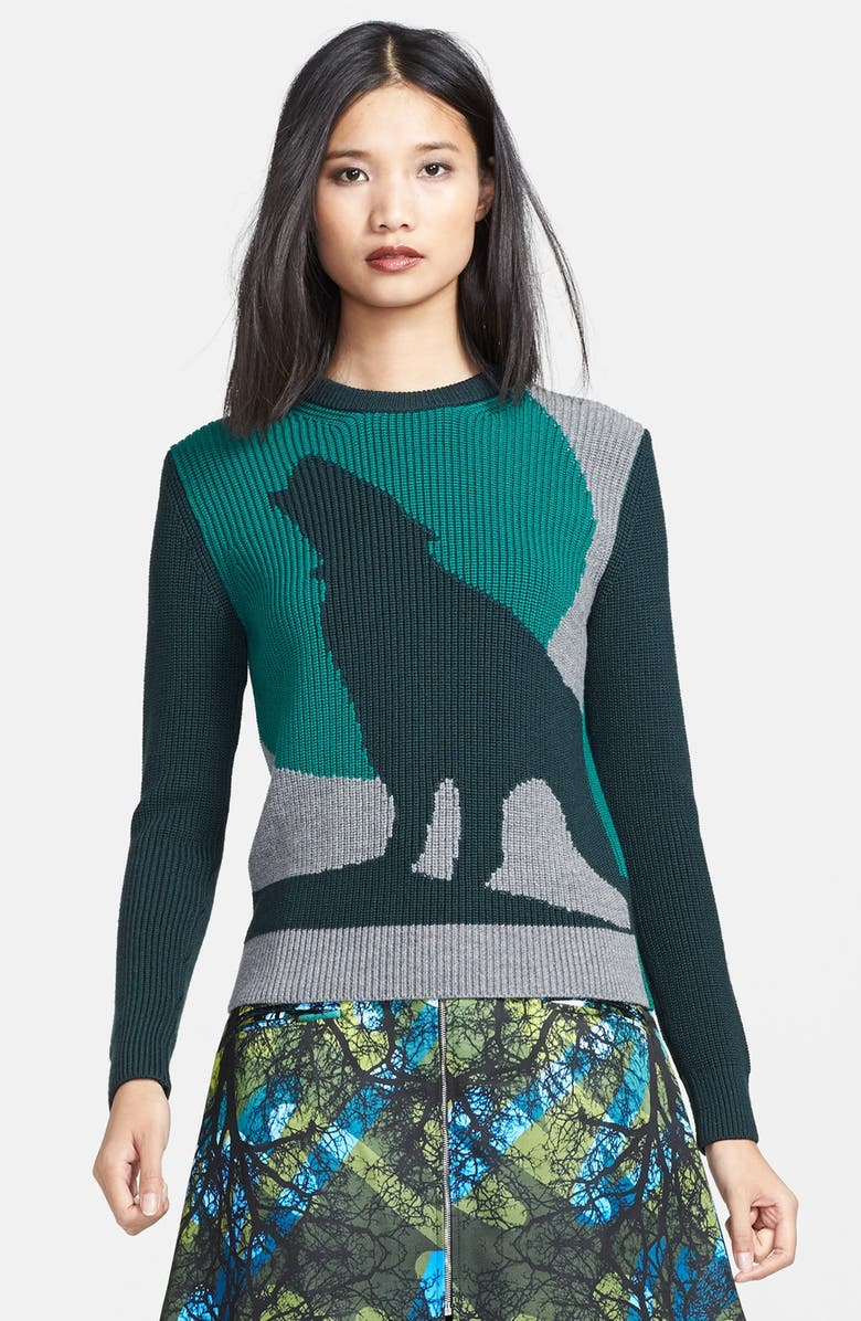 RISTO 'Green Moon Wolf' Intarsia Knit Sweater, Main, color, 440