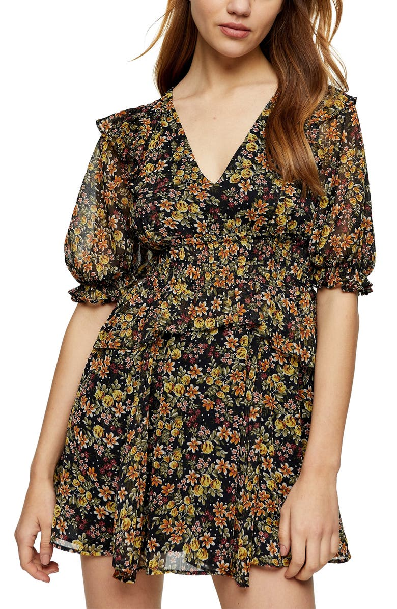 TOPSHOP Shirred Waist Minidress, Main, color, BLACK MULTI