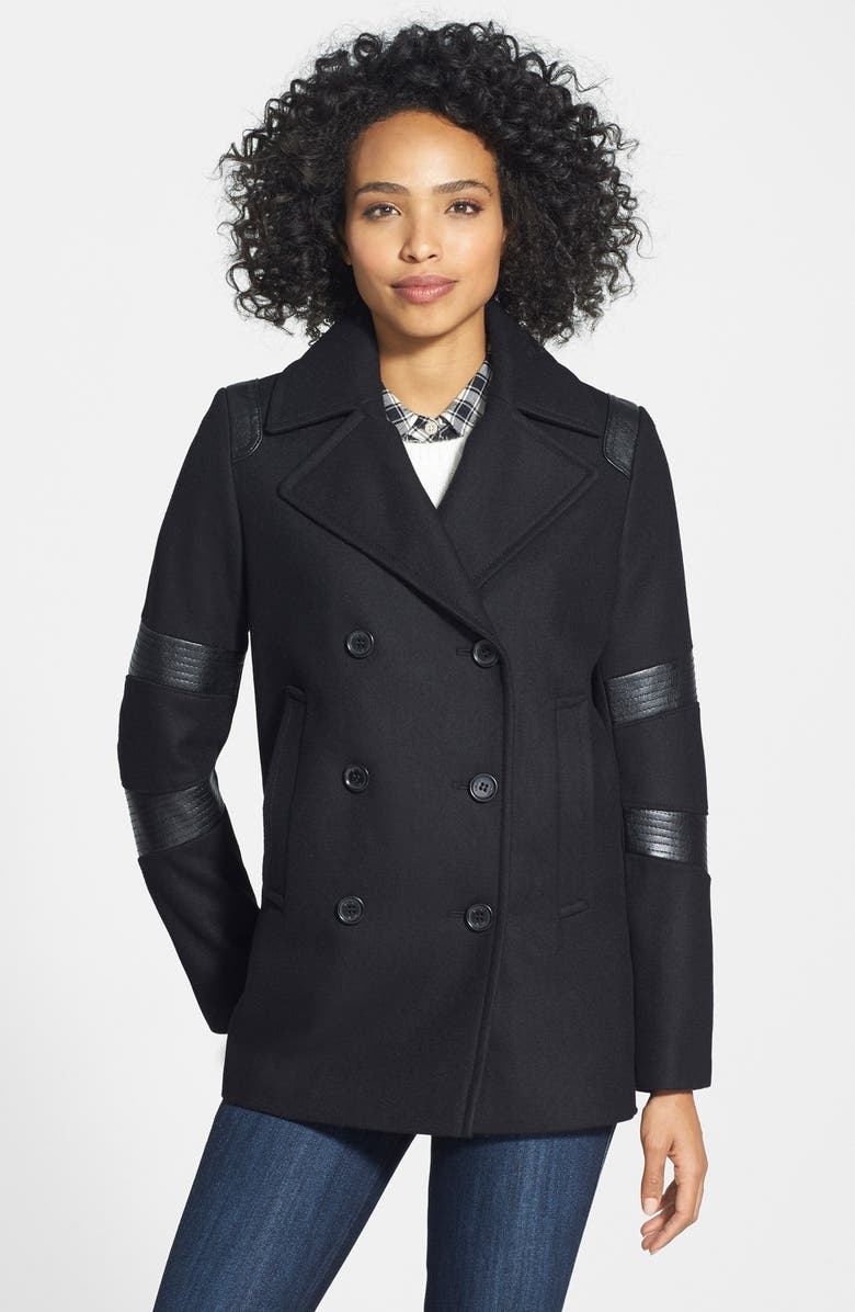 DKNY Faux Leather Trim Wool Blend Peacoat, Main, color, 001