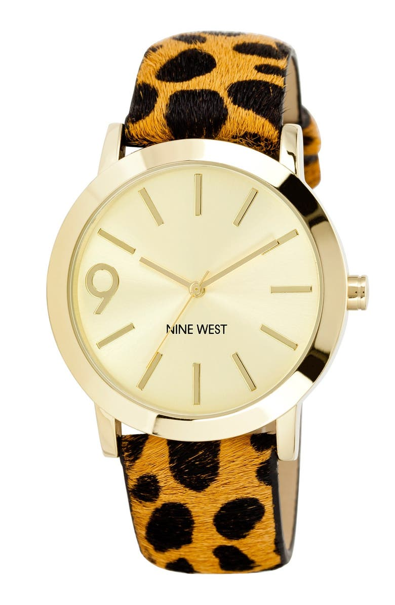 NINE WEST Round Calf Hair Strap Watch, 41mm, Main, color, 200
