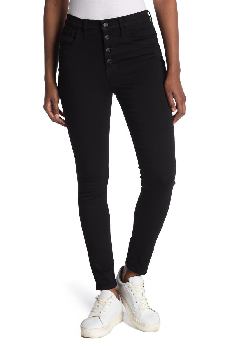 MADEWELL 9-Inch High Rise Skinny Jeans, Main, color, BLACK FROST