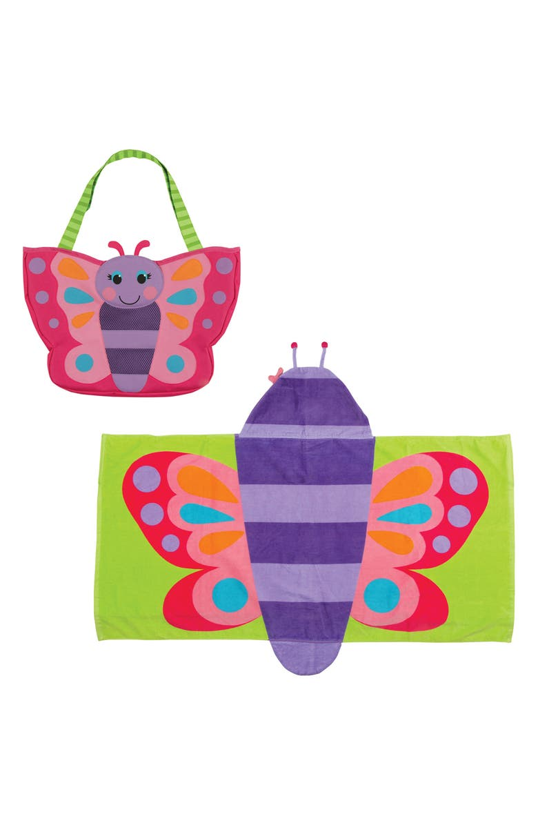 STEPHEN JOSEPH Beach Tote, Hooded Towel & Toys, Main, color, PINK BUTTERFLY