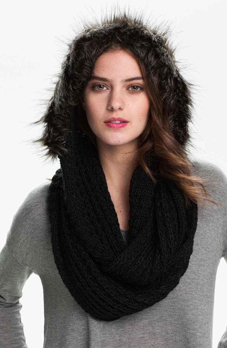 LA FIORENTINA Hooded Infinity Scarf, Main, color, 001