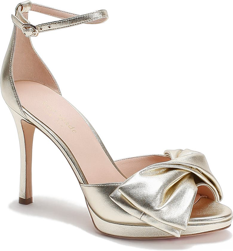 KATE SPADE NEW YORK bow ankle strap sandal, Main, color, PALE GOLD LEATHER