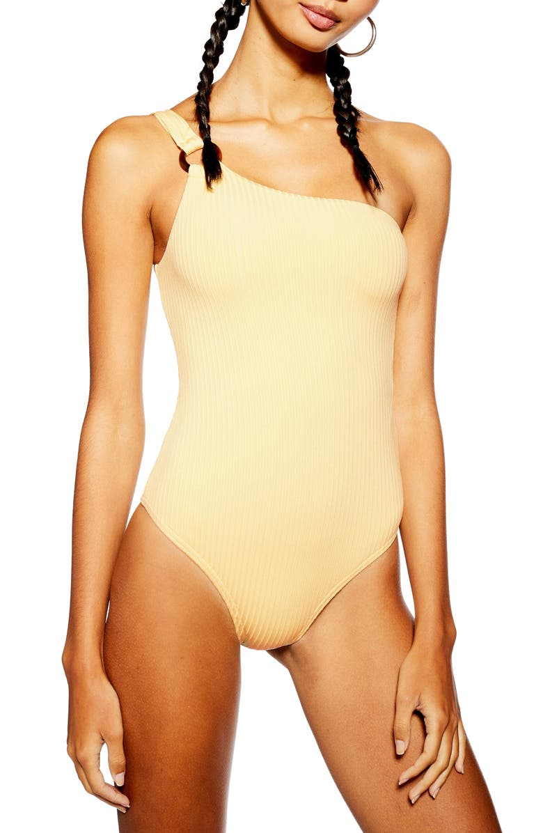TOPSHOP Ribbed One-Shoulder One-Piece Swimsuit, Main, color, 700