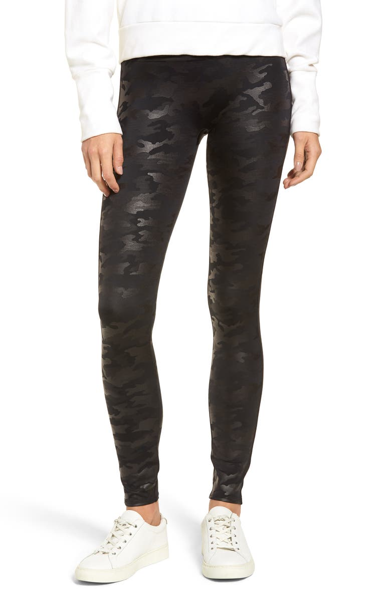 SPANX<SUP>®</SUP> Faux Leather Camo Leggings, Main, color, 001