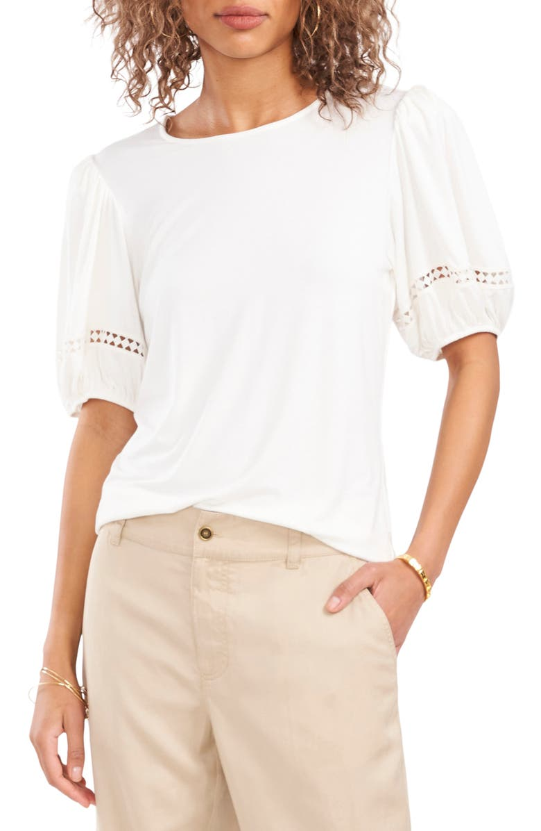VINCE CAMUTO Puff Sleeve Crochet Trim Top, Main, color, NEW IVORY