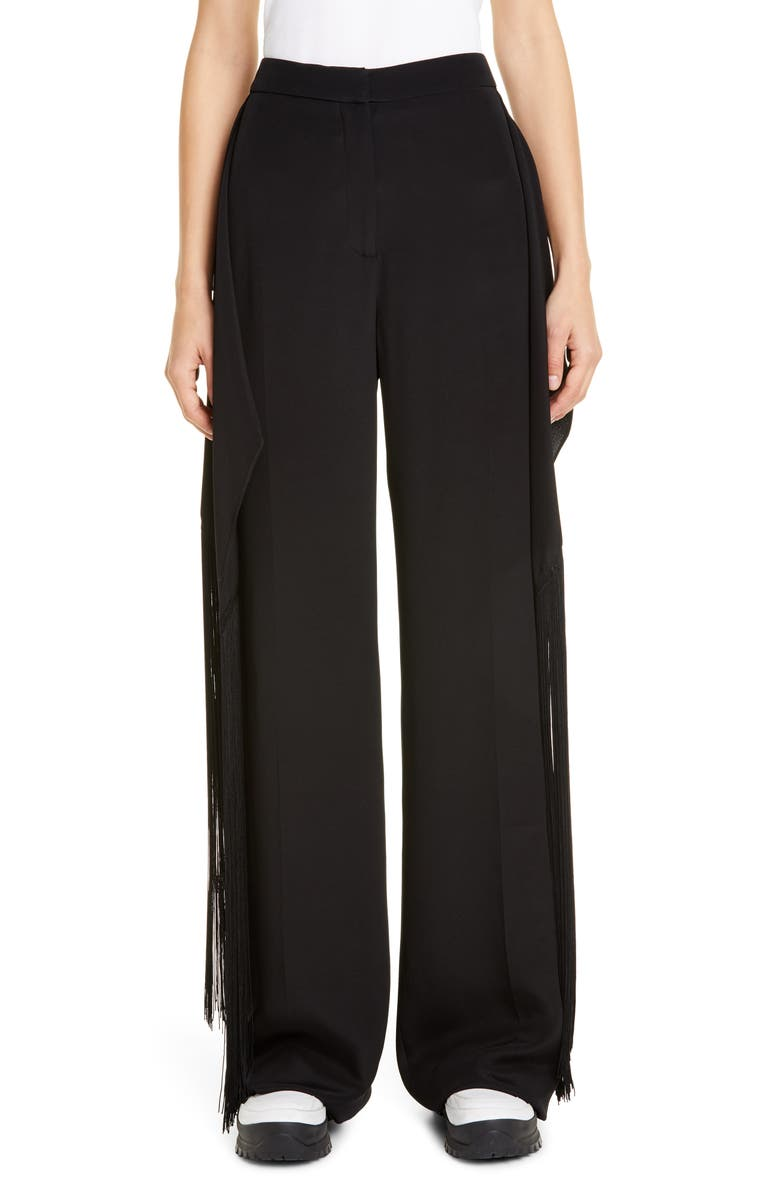STELLA MCCARTNEY Fringe Panel Silk Wide Leg Pants, Main, color, 001