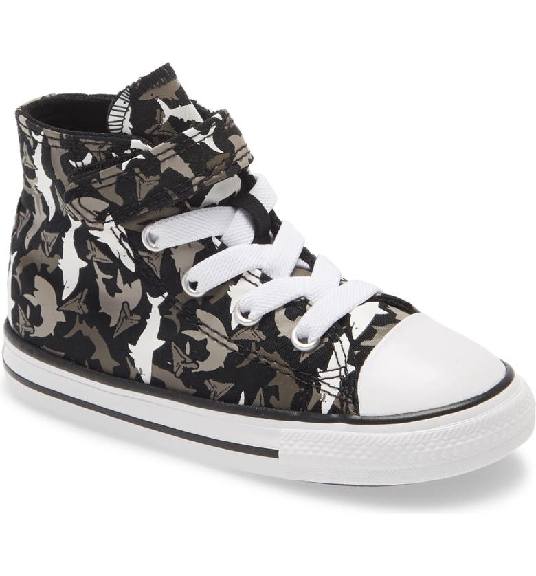 CONVERSE Chuck Taylor<sup>®</sup> All Star<sup>®</sup> 1V Shark High Top Sneaker, Main, color, BLACK/ UNIVERSITY RED/ WHITE