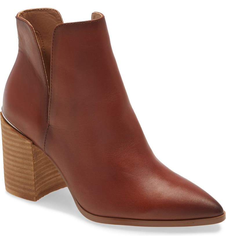 STEVE MADDEN Kaylah Pointed Toe Bootie, Main, color, COGNAC LEATHER