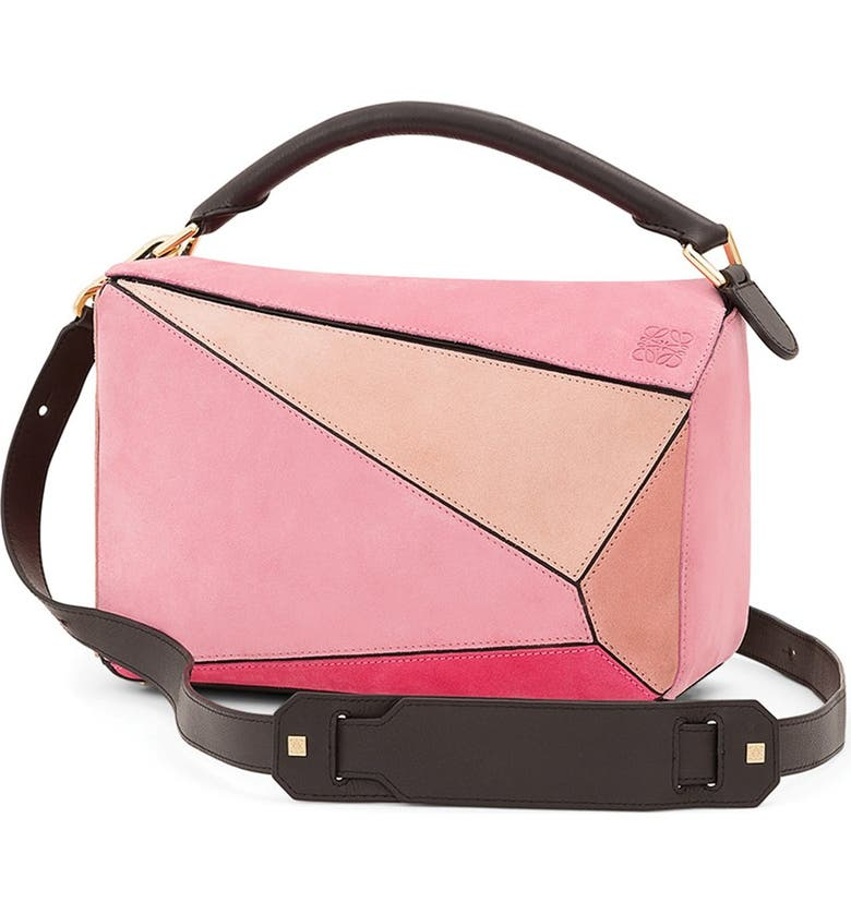 LOEWE 'Small Puzzle' Multi Suede Bag, Main, color, 650