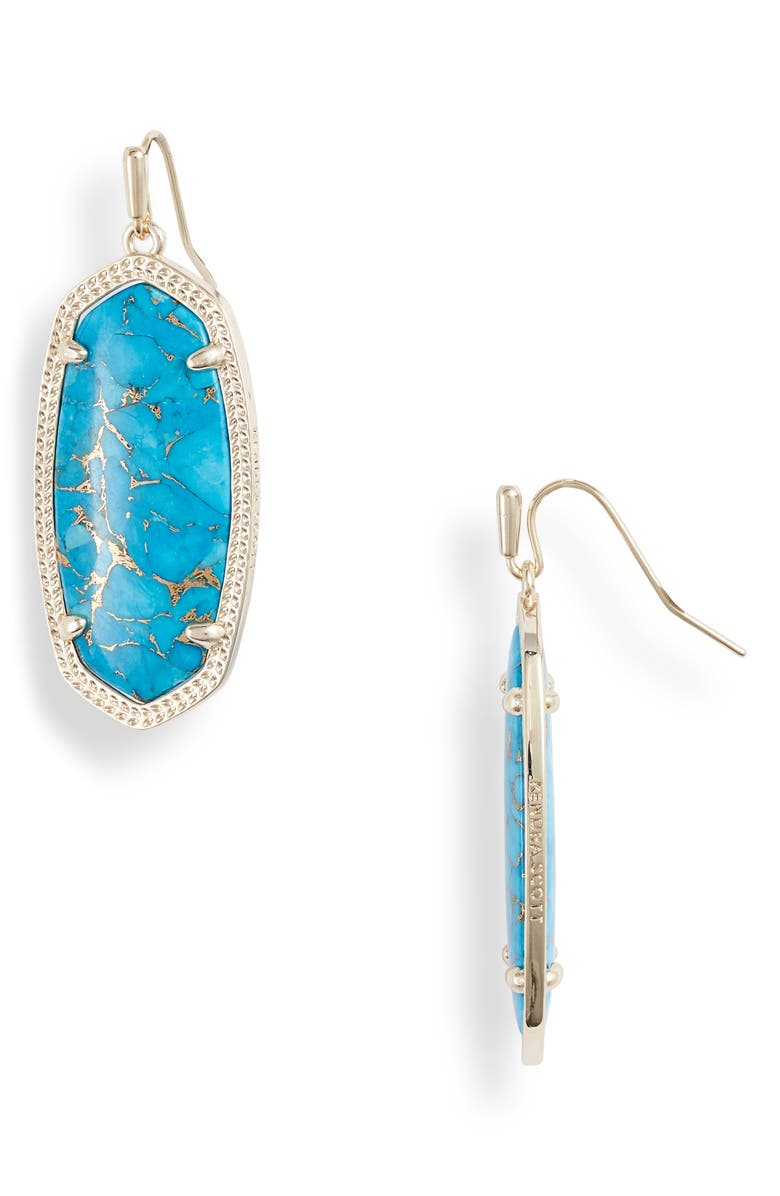KENDRA SCOTT Elle Filigree Drop Earrings, Main, color, BRONZE VEINED TURQUOISE/ GOLD