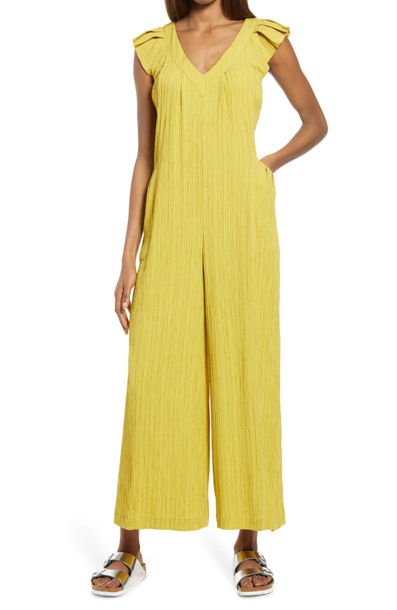 TREASURE & BOND Ruffle Detail Wide Leg Jumpsuit, Main, color, YELLOW MUSTARD