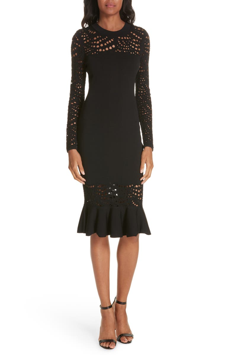 MILLY Lace Pointelle Mermaid Midi Dress, Main, color, Black