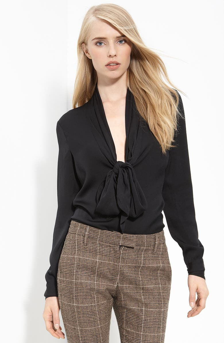 RACHEL ZOE Tie Neck Silk Blouse, Main, color, 001